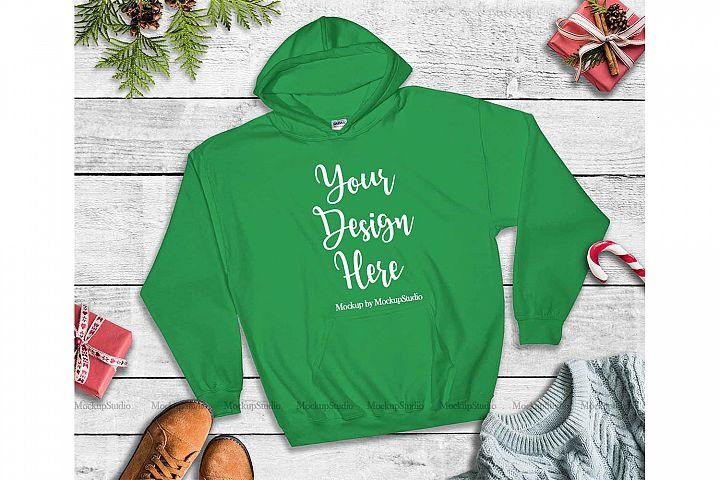 Green Christmas Hoodie Mockup, Winter Holiday Flat Lay