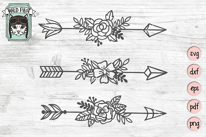 Floral Arrows svg file, Arrows cut file, Flowers