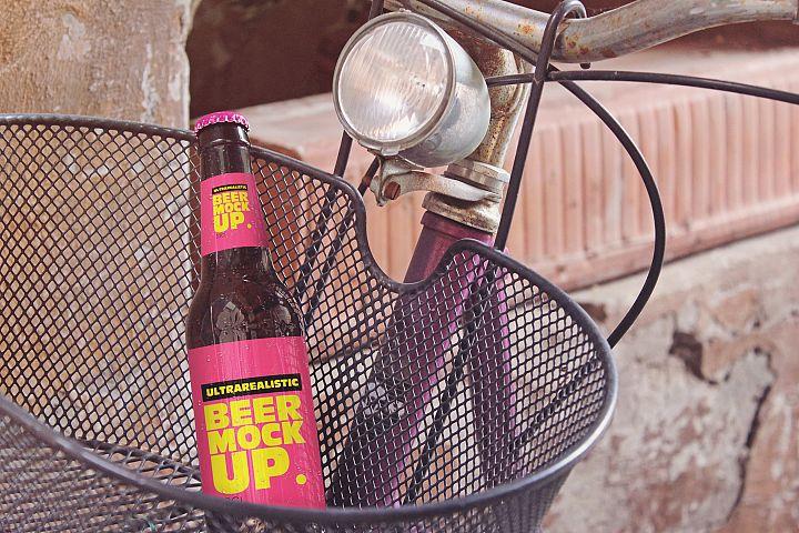 Bike Basket Beer Mockup