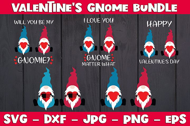Valentine Gnome Bundle SVG PNG Valentines Day Gnome Bundle