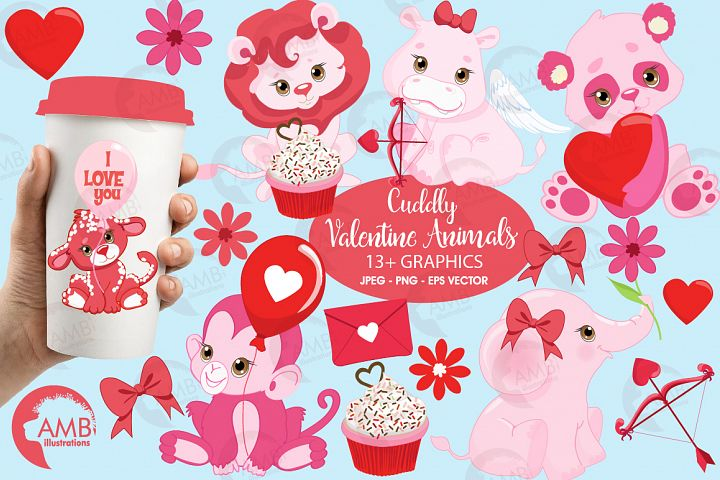 Happy Valentine clipart, Valentine jungle clipart, graphics illustrations AMB-1577