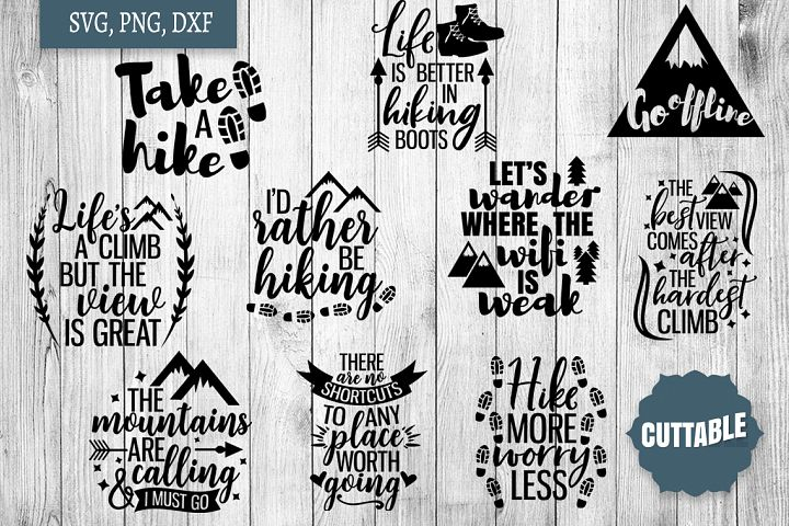 Hiking SVG bundle, Hiking cut file quotes, climbing SVGs