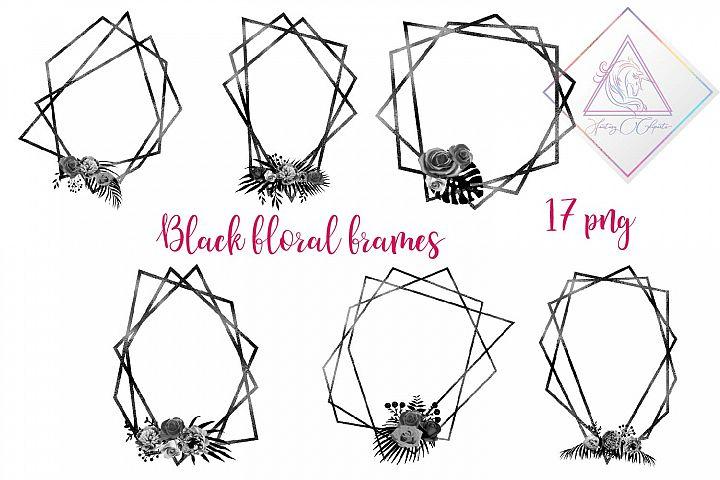 Black Floral Polygonal Frames Clipart