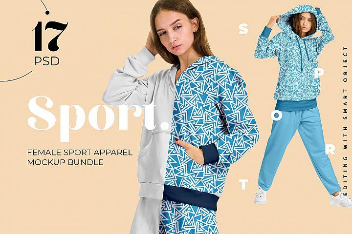 Female Sport Suit Mockup Set for Pattern design presentation