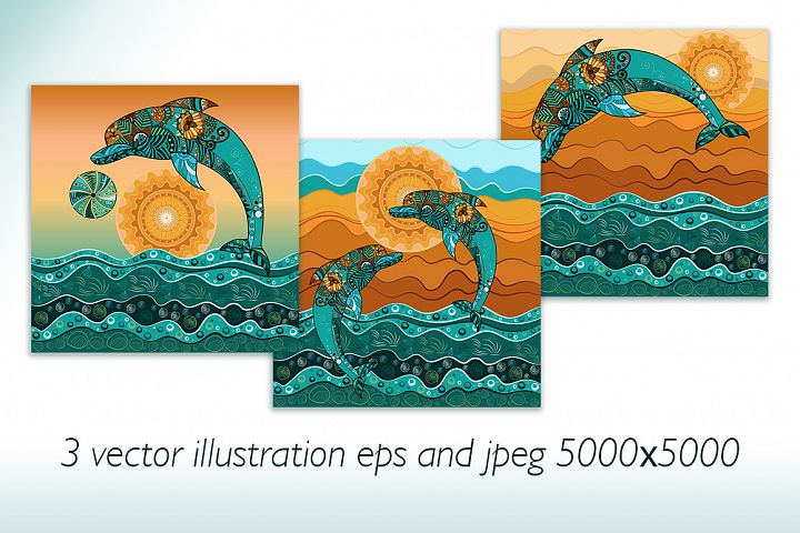 Dolphins in the sea. Stylized vector illustration