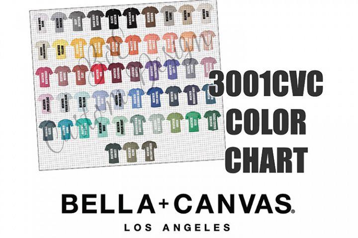 Bella 3001CVC T-Shirt Color Chart