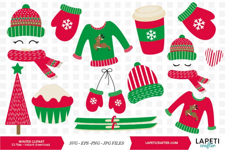 Winter Clipart, 13 instant download christmas vector