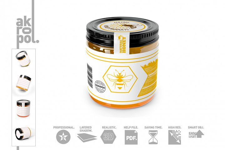 Honey Jar Bottle Mockup