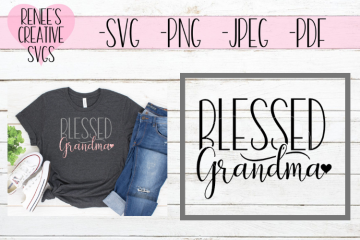 Blessed Grandma w/ Heart   Mothers day   SVG Cut File