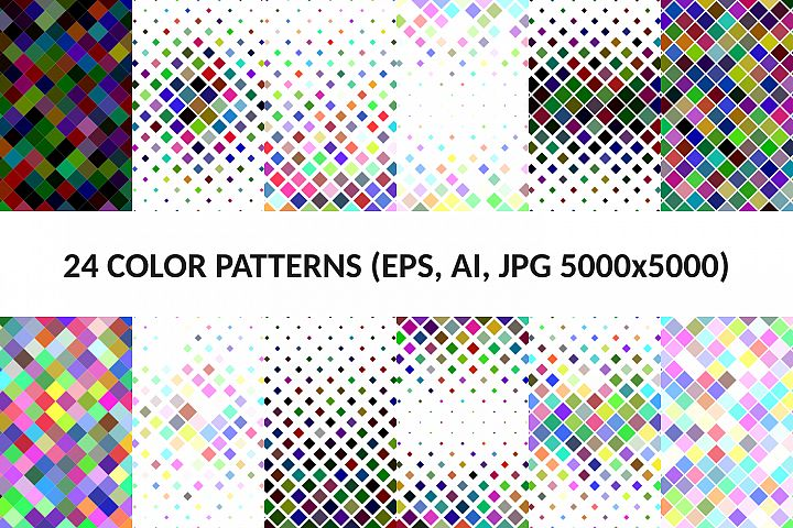 24 Multicolored Square Patterns (AI, EPS, JPG 5000x5000)