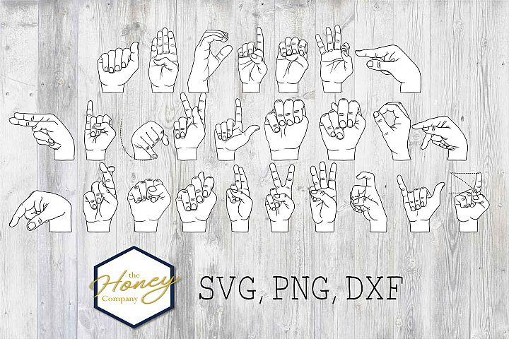 Sign Language Alphabet SVG PNG DXF ASL Cutting File Hands