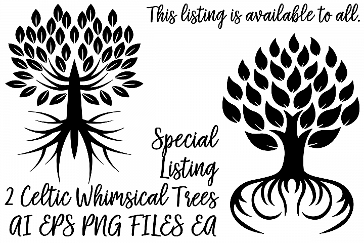 Celtic Trees Special Listing....2 AI EPS Vector & PNG files