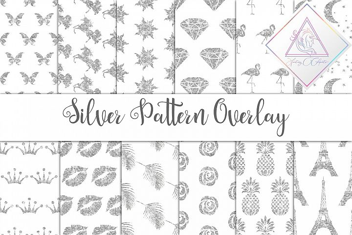 Silver Glitter Seamless Pattern Overlay Clipart