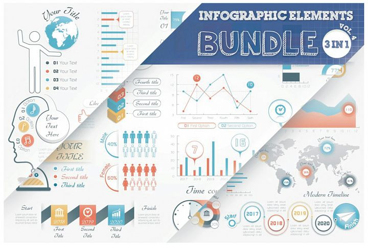 Infographic Elements Bundle 3 in 1 (vol. 4)