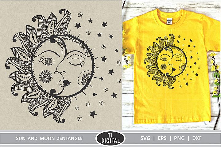 Sun and Moon Zentangle - Mandala SVG | EPS | PNG | DXF