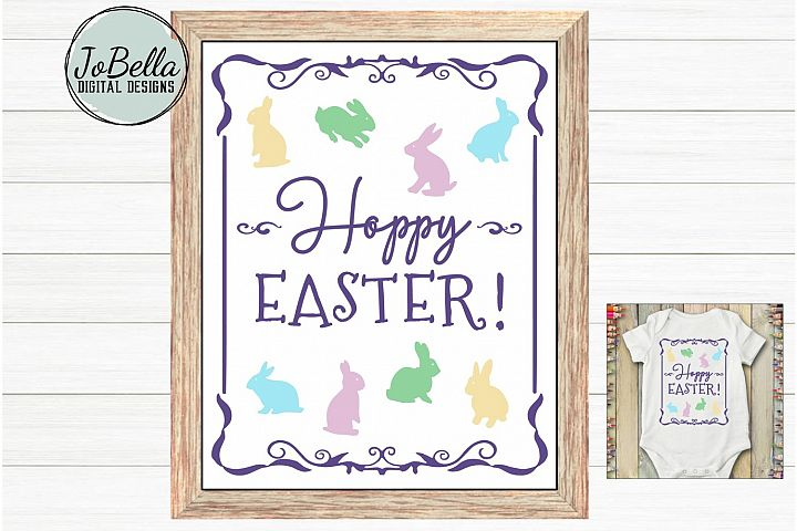 Hoppy Easter SVG and Printable Retro Vintage Design