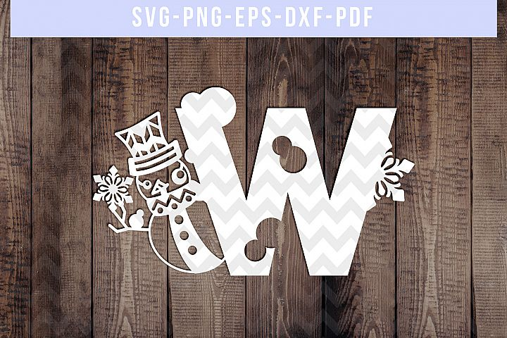 Snowman Font W Paper Cut Template, Winter Cutting SVG, DXF