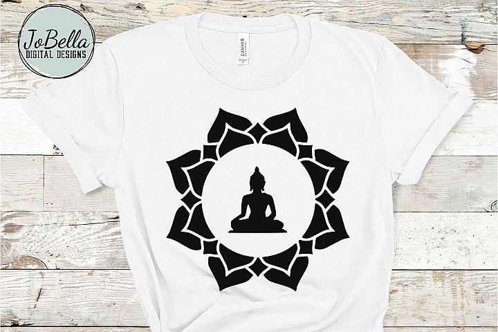 Buddha in Lotus SVG and Printable Boho Design