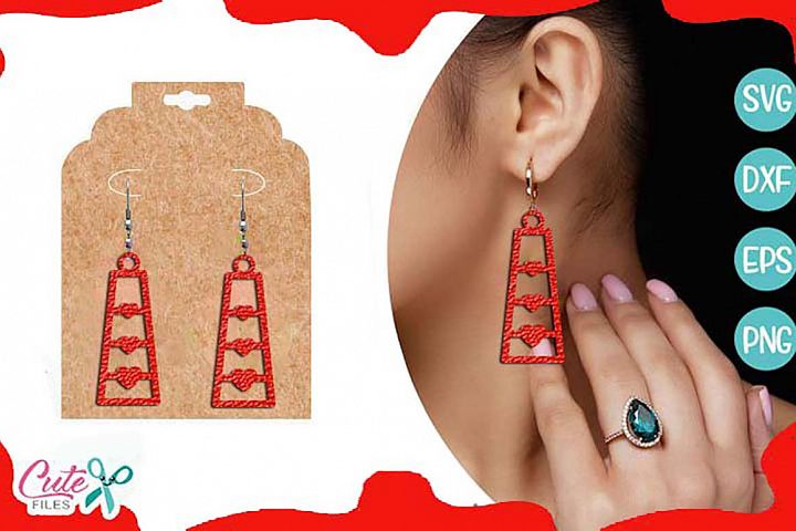 Valentines day earring templante SVG cut file