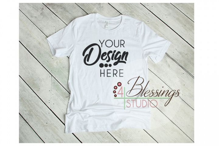 White T Shirt Bella Canvas Mockup 3001 Unisex Shirt Mock up