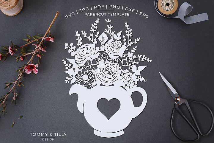 Romantic Floral Tea Pot - Papercut Template SVG JPG PNG