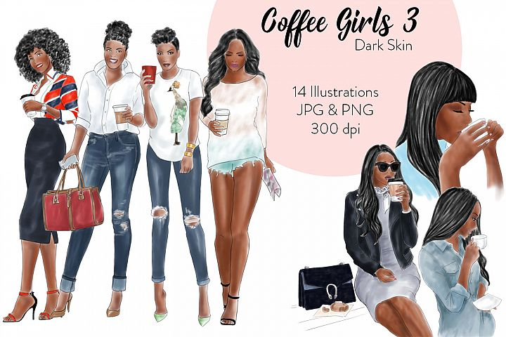 Fashion clipart coffee girls 3 - Dark Skin