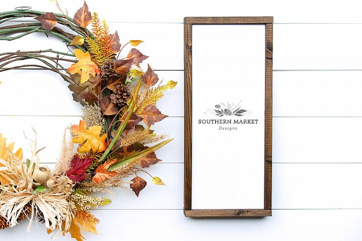 Fall Wood Framed Sign 8x20 Vertical Mock Up Stock Photo