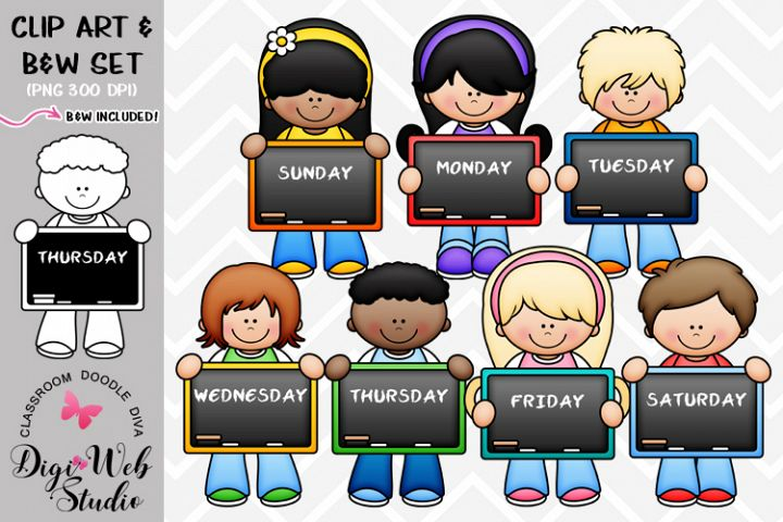 Clip Art / Illustrations - Days of The Week Kids