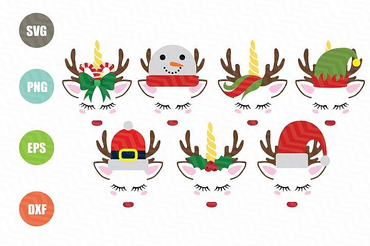 Christmas Face Unicorn SVG