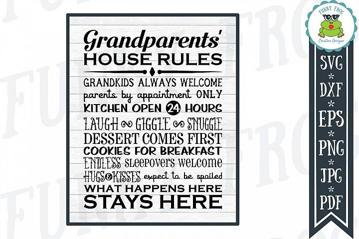 Grandparents House Rules Subway Art SVG Cut File