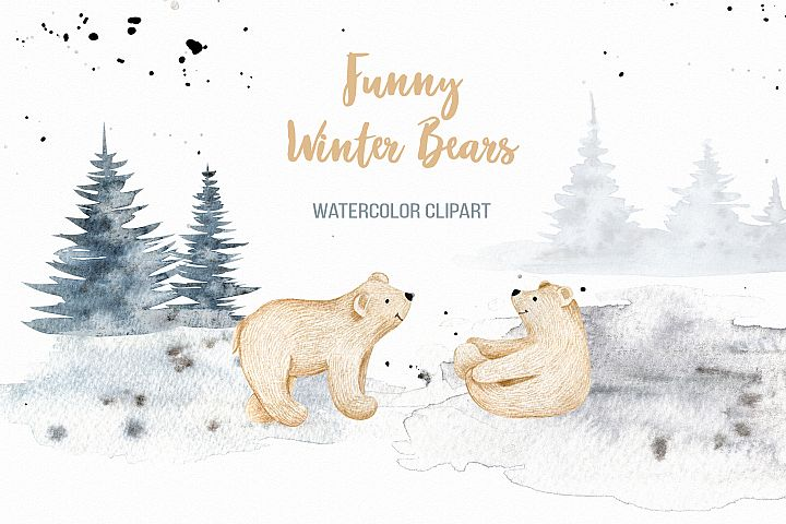 Funny Winter Bears Christmas tree and mountain clipart