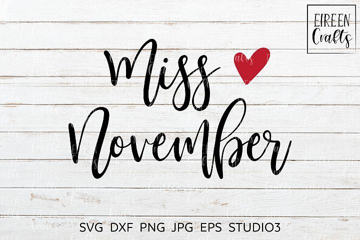 Miss November SVG - cut file for Cricut & Silhouette