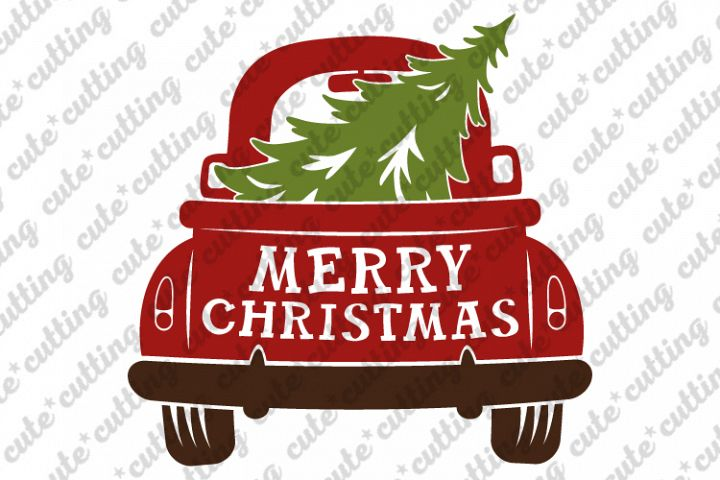 Christmas truck back with tree svg, dxf, pdf, jpeg, png