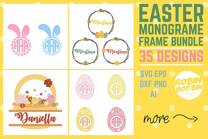Easter Monogram Frames Bundle Bunny SVG - Happy Easter SVG