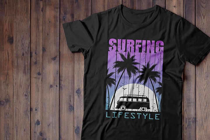 Night Surfing.Print for T-shirt