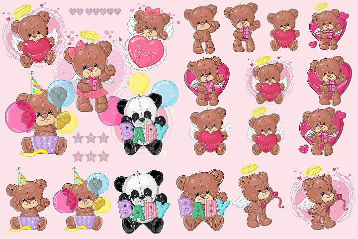 Cute Teddy Bears Big Set