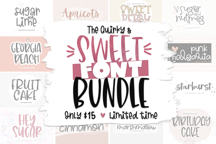 The Sweet Font Bundle - 14 Fun & Quirky Fonts
