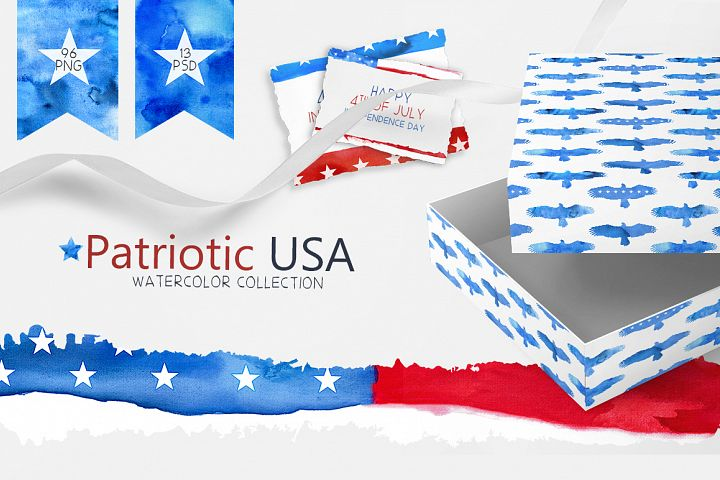 Patriotic USA Watercolor