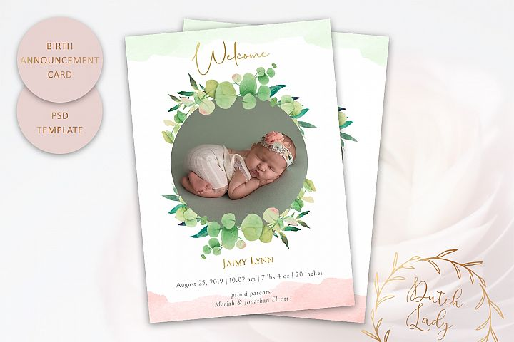 PSD Birth Announcement Card Template - Design #7