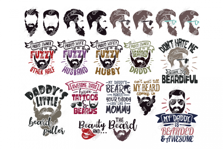 Beard SVG File Bundle in SVG, EPS, PNG, DXF, JPG