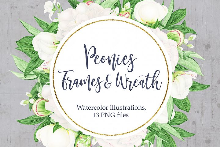 Watercolor White Peonies Frames and Wreaths