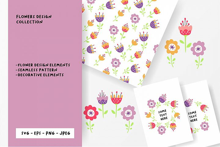 Flower design collection svg