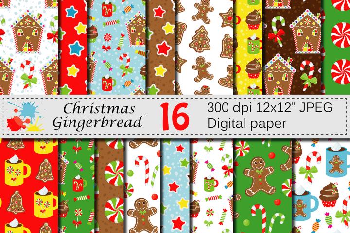 Christmas Gingerbread Digital Paper Set