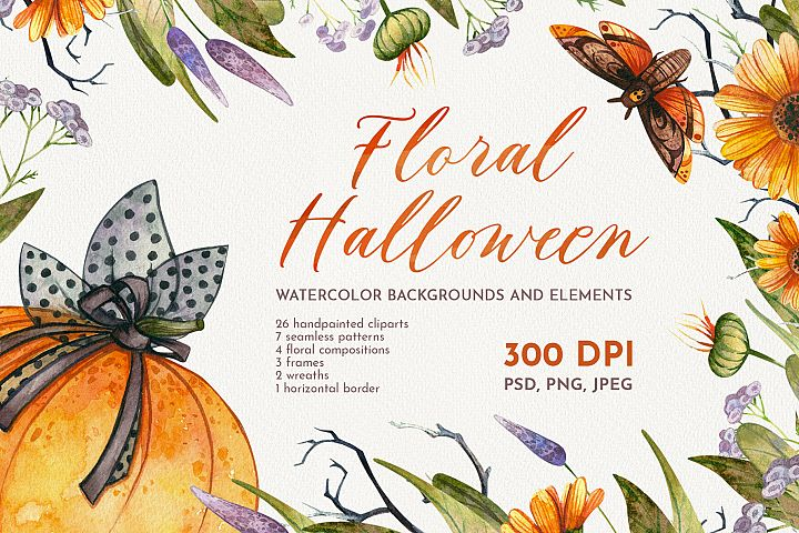 Floral Halloween. Watercolor backgrounds and elements