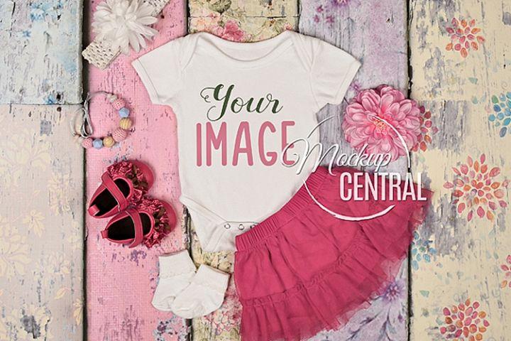 Pretty Baby Girls Onepiece Bodysuit Mockup Shirt Theme JPG