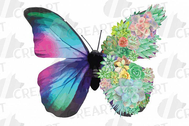 Succulent garden butterfly decor clip art. Butterfly tumbler