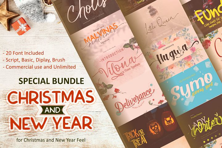 Special Bundle Christmas and New Year||20 Font and more