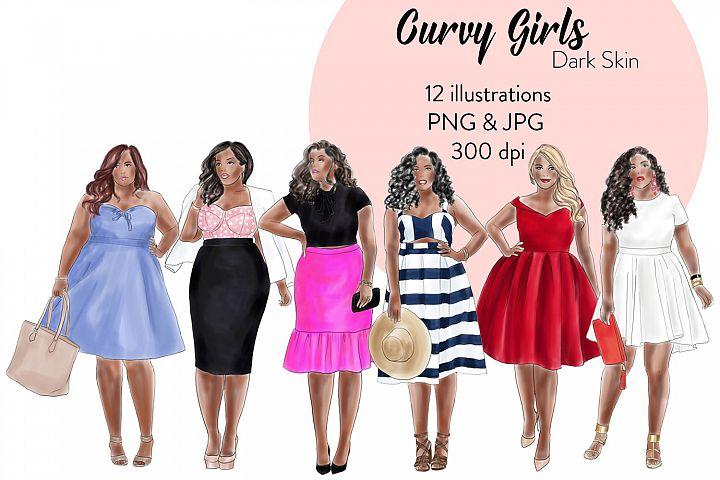 Fashion illustration clipart - Curvy Girls - Dark skin