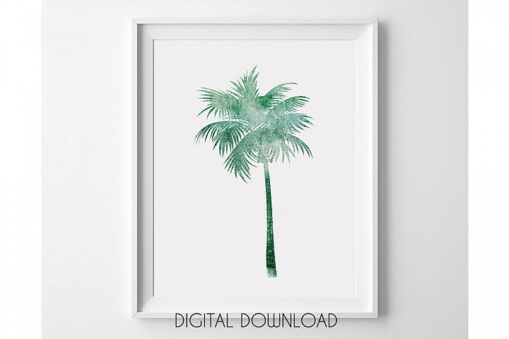 Palm Tree Printable Wall Art, Green Palm Tree Poster