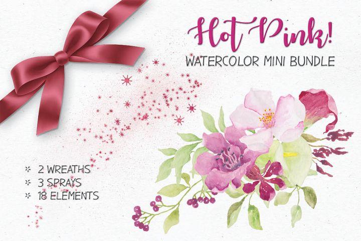 Watercolor mini bundle - Hot Pink